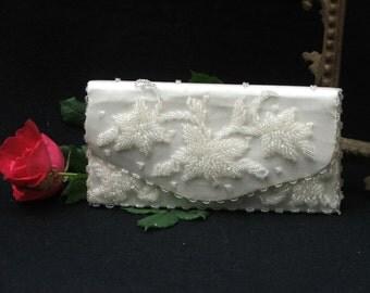 Beaded White Evening Bag / Clutch