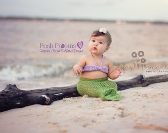 Crochet PATTERNS - Crochet Mermaid Tail & Top Pattern - Mermaid Blanket Pattern - Crochet Baby Blanket - 3 Sizes - Photo Prop - PDF 193