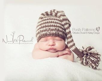 Baby Elf Hat Knitting Pattern : Knitting PATTERN Easy Ribbed Knit Hat Pattern Knitting