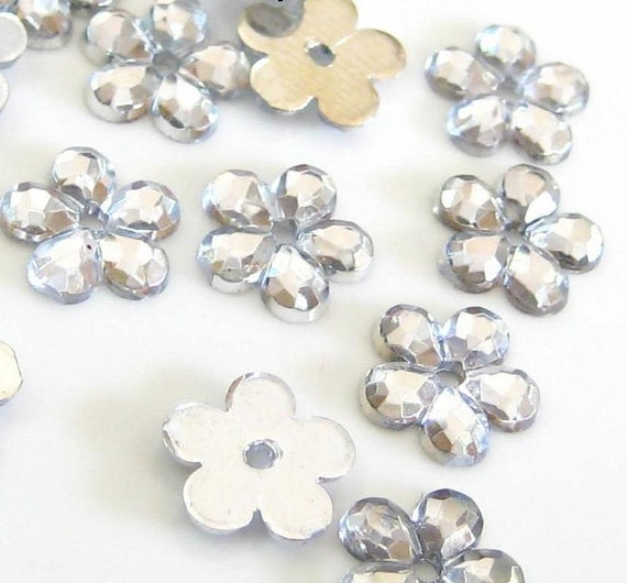 50 pcs Crystal Clear Flower Sew on Flatback Rhinestones with 1 hole Acrylic