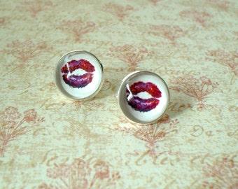 20% OFF - - Kiss Me Red / White  Stud Earrings,Morden Fashion,Sweet Gift Idea