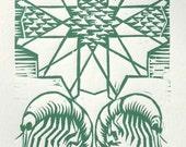 Plankton: woodcut print