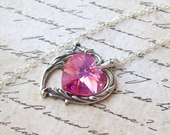 Victorian Heart Necklace, Tourmaline Pink Necklace, sterling silver, silver heart, Swarovski crystal heart, spring fashion, bridal, weddings