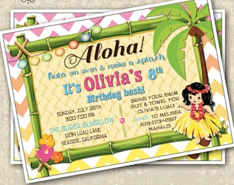 Vintage or Modern Hawaiian Luau invitation Hawaiian Party Invitation Hula Girl Birthday Invitation Customizable 5x7