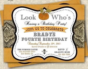 Halloween Birthday Invitation Pumpkin Patch Pumpkin Invitation Customizable DIY 5x7 lil pumpkin baby shower
