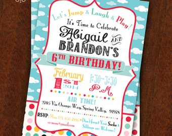 Birthday Party Invitation Jump House Party Bounce House Invitation  5x7 Printable Boy Girl Combined Party