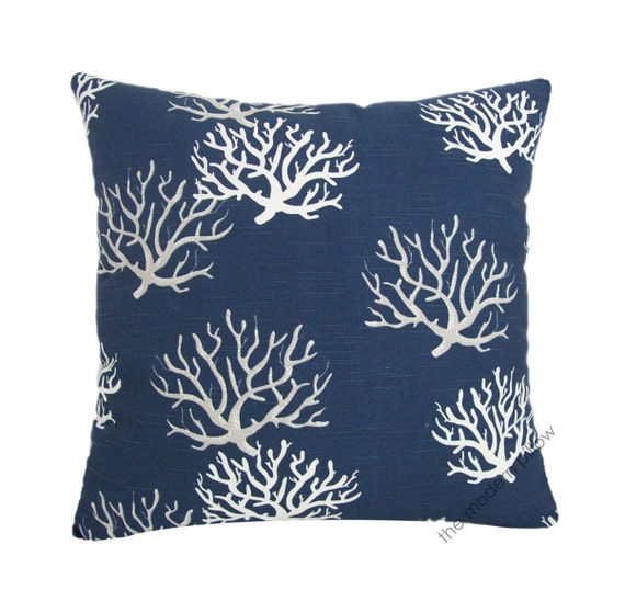 Navy Blue / Gray / White Coral Decorative Throw Pillow Cover