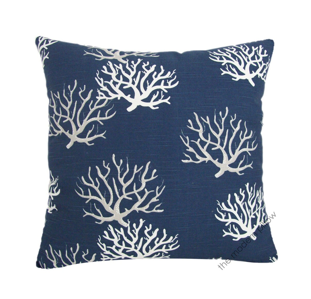 navy blue gray white coral decorative throw pillow cover. Black Bedroom Furniture Sets. Home Design Ideas