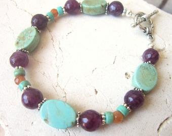 Multi Semi Precious Stone Bracelet. Turquoise Howlite & Amethyst Bracelet. Multi Color Bracelet. Turquoise Bracelet. Turquoise Jewelry.