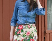 Floral Mini Skirt / Simple Casual Chic Fall Summer Handmade Skirt fit for S sized Women
