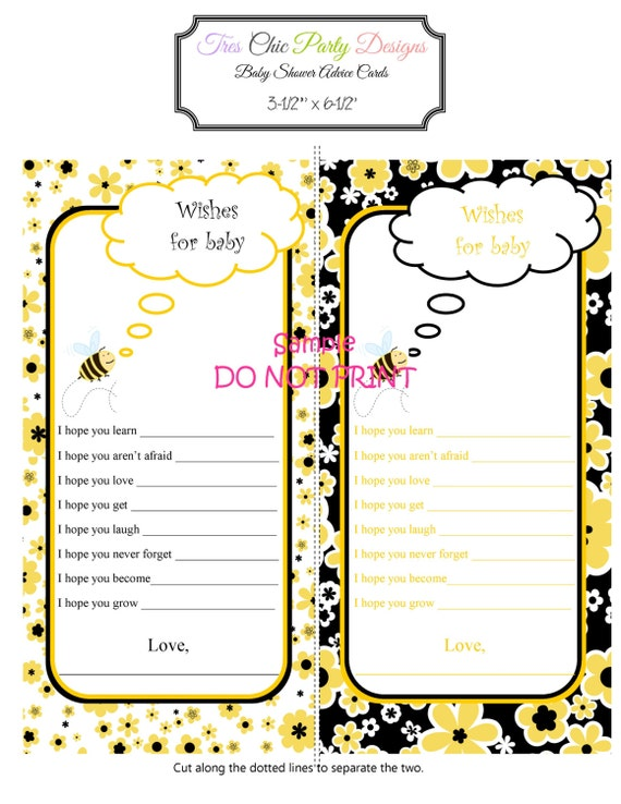 Bumble bee advice cards, baby shower advice cards, mommy to be advice cards,INSTANT DOWNLOAD, bee advice cards, baby advice cards