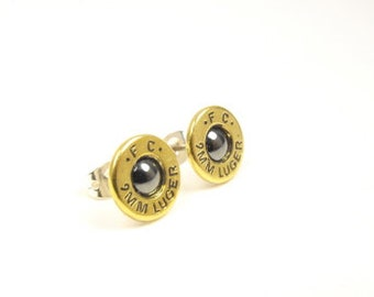bullet earrings Hematine and brass 9mm luger post earrings