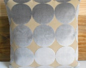 Gray and tan velvet dots pillow, DwellStudio dove plush dotscape decorative pillow cover