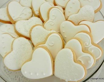 Mini fancy heart hand decorated sugar  cookies for weddings, showers, birthdays and other events (#2321)