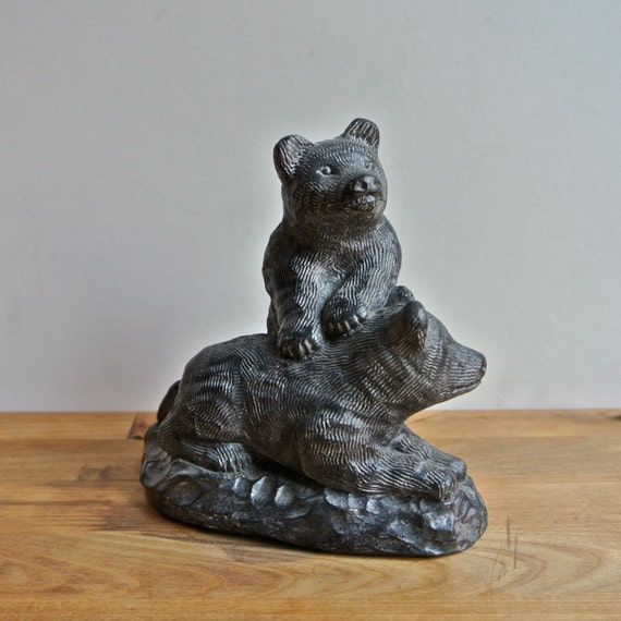 A wolf original bear cubs soapstone sculpture made in by
