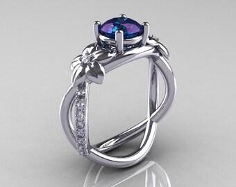 Nature Classic 950 Platinum 1.0 CT Alexandrite Diamond  Leaf and Vine Engagement Ring R180-PLATDAL