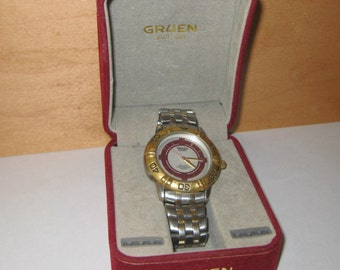 Mens Gruen Sport Silver and Gold Tone Watch ON SALE