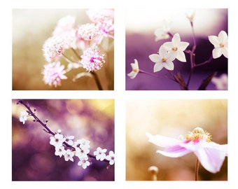 floral photography nature set 8x10 8x12 set of 4 Fine art photography botanical print blossom photography lavender wall art pastel plum gol