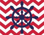 Navy Blue and Red Nursery, Nautical Nursery Print, Whale Nursery Decor -8x10