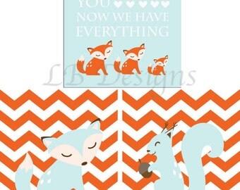 Orange and Baby Blue Nursery, Woodland Nursery Prints, Fox Nursery Decor -  Three 8x10s