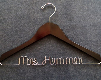 Wedding Dress Hanger, Bride Hanger, Groom Hanger, Mrs Hanger, Wire Name Hanger, Shower Gift, Bridesmaid Gift, Bridal Hanger