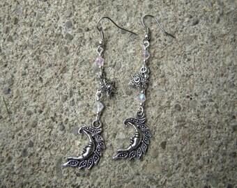 Marcasite Crystal Moon Earrings