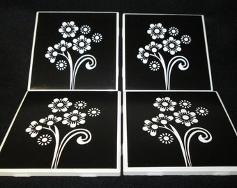 Ceramic Coasters - Black and White Ceramic Coasters -READY TO SHIP