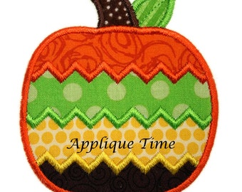 Instant Download Chevron Pumpkin Machine Embroidery Applique Design 4x4, 5x7 and 6x10