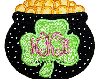 Instant Download Pot of Gold with Shamrock Machine Embroidery Applique Design 4x4, 5x7 and 6x10