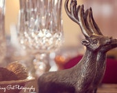 Christmas photography home decor lights holiday dining table gold red ivory silver glitter bokeh reindeer ornament fine art photo wall art
