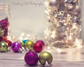 Christmas photography home decor lights holiday photo dreamy silver blue green red pink gold glitter bokeh ornaments fine art photo wall art