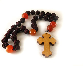 Hand Held Rosary with genuine Rose beads & carnelian agate and wooden cross