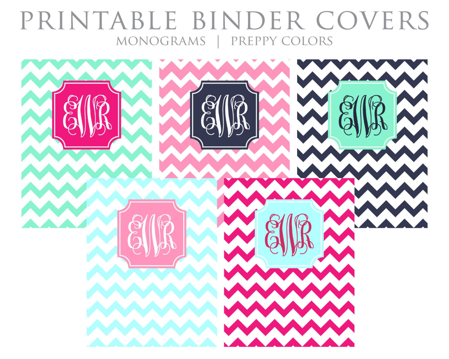 This is an image of Zany Printable Monogram Binder Cover
