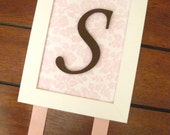 Personalized Hair Bow Holder Frame Pink and Brown