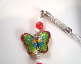 Red Butterfly Cloisonne Cellphone Charm CH005 cell phone charm