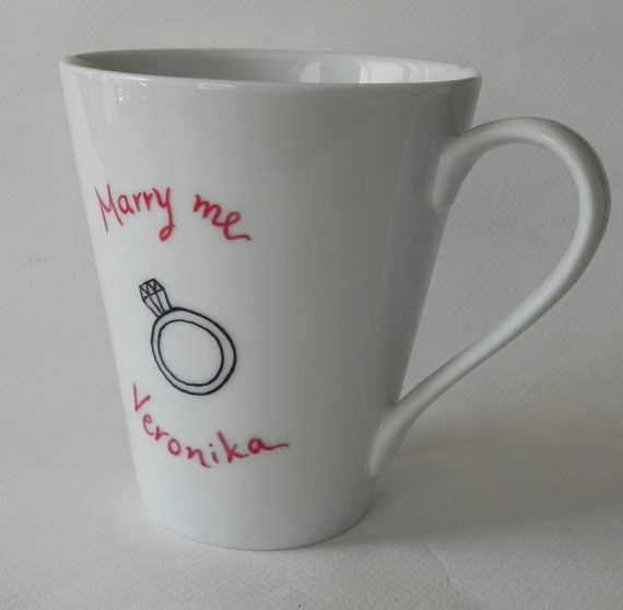 Diamond ring - Marry me, hand painted mug for wedding proposal - gift for her - original proposal - propose with style