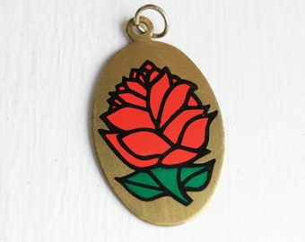 Painted Reversible Rose Charm