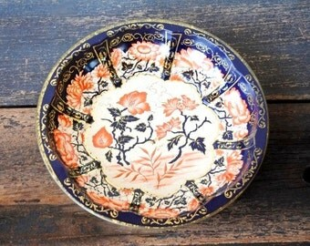 Vintage Chinoiserie English Tin Metal Bowl Tray, Burnt Orange Navy & Gold, Daher Made in England