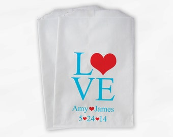 Personalized Candy Buffet Bags - Love and Hearts Custom Favor Bags for Wedding in Turquoise and Red - Paper Treat Bags (0015)