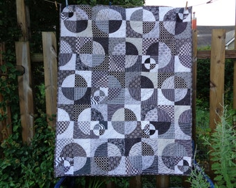 Circle Quilt, Very Zen Black and White Quilt, Graphic Quilt, Art Quilt, Crazy Curves 0801-05