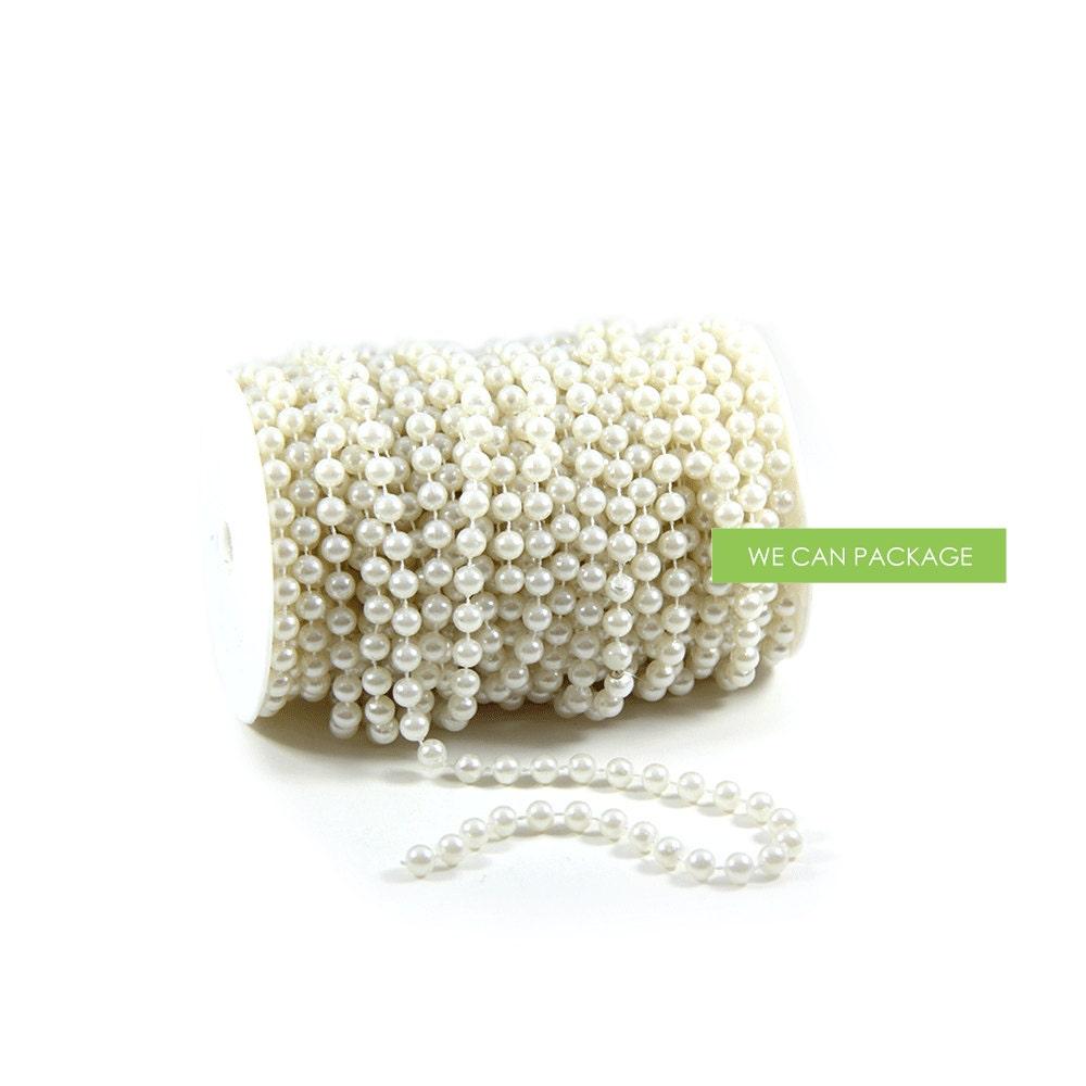 White Pearl Beads Strand Garland Acrylic Wedding Pearl: 66 Feet Pearl Beads Roll Garland For Wedding Centerpiece