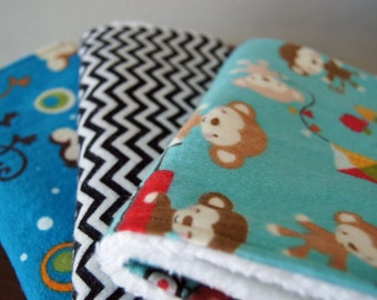 Monkey Burp Cloths for Boys - Chevron Burp Cloth - Blue, Red, Black & White - Monkey Nursery