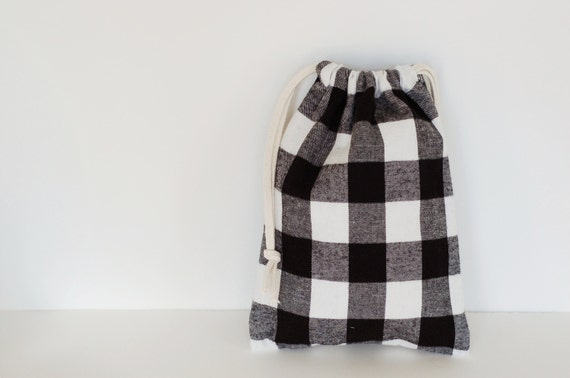 "Black & White Plaid Flannel Drawstring Bag 11"" x 8"""