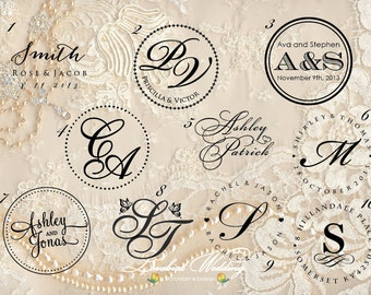 Wedding embossing seal, wedding monogram embosser