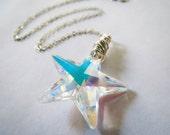 Shimmering Star Necklace - Winter Sparkle Necklace with Swarovski Crystal
