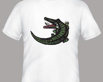 Alligator Celestino PIatti Illustration Tshirt, sizes s, m, l, xl, 2xl, 3xl, 4xl
