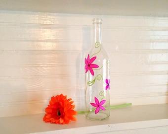 Hand Painted Floral Wine Bottle Flower Vase - Home Decoration