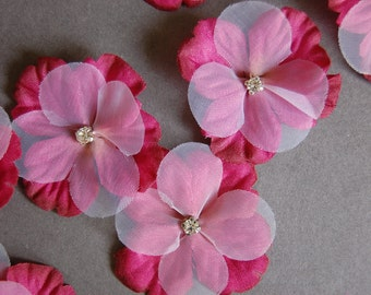 7pc - Raspberry Flower with Rhinestone