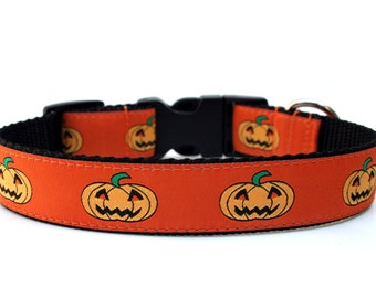 "Halloween Dog Collar 1"" Pumpkin Dog Collar"
