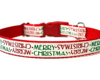 """Christmas Dog Collar 3/4"""" Holiday Dog Collar SIZE MEDIUM"""